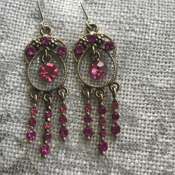 Jewelry - Pink rhinestone chandelier earrings